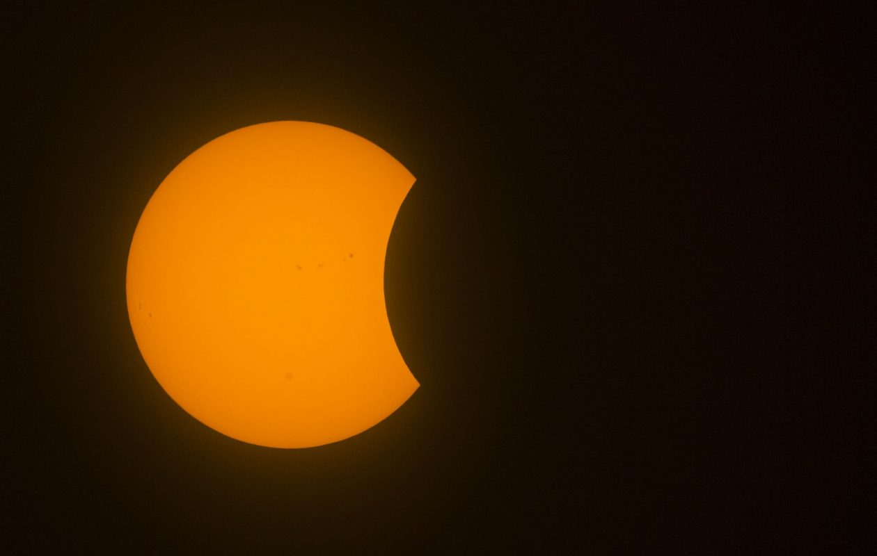 The solar eclipse has begun in Buffalo. (Derek Gee/Buffalo News)