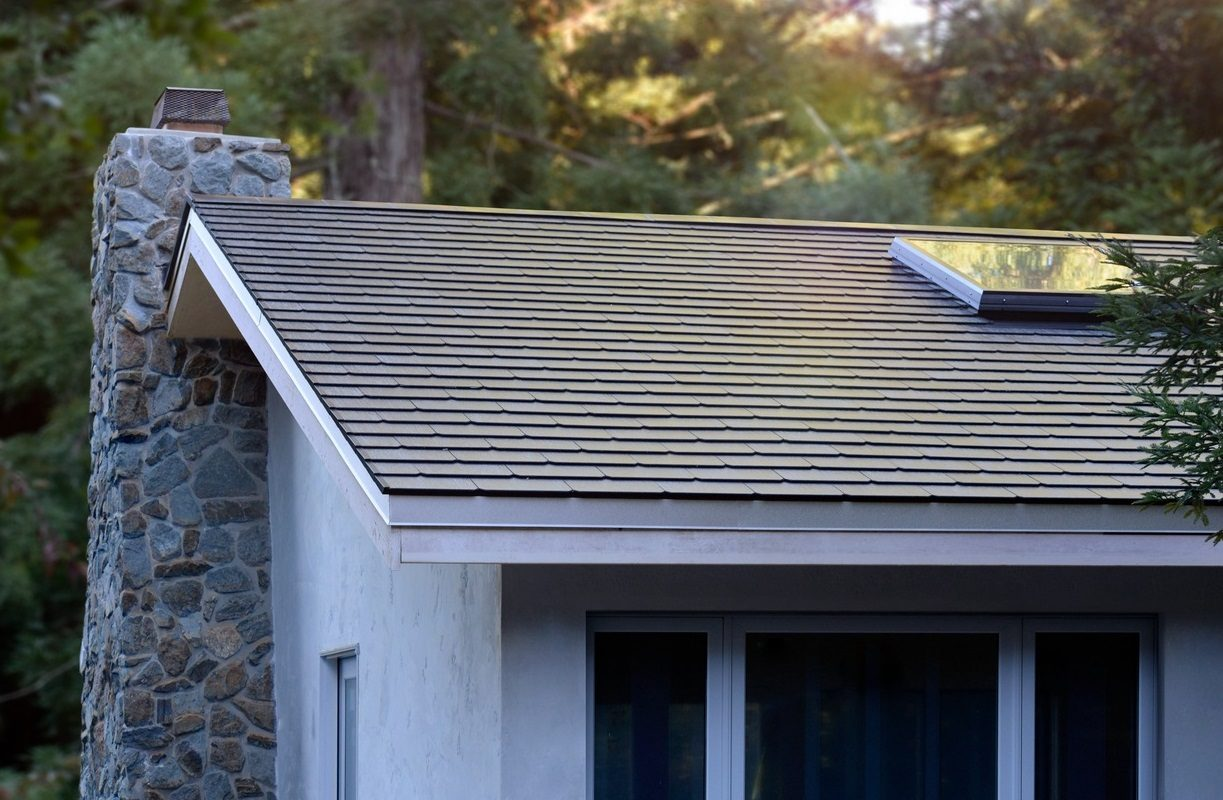 Tesla has installed its first solar roofs on the homes of some of its employees, including this roof that the company featured in its earnings report Wednesday. (Photo courtesy of Tesla)