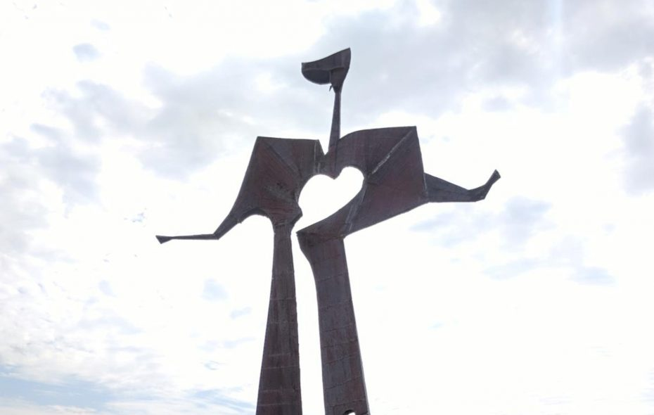The Flat Man statue unveiled Tuesday, Aug. 29, 2017 on the Greenway Nature Trail on Buffalo's Outer Harbor. (Courtesy of Empire State Development Corp.)
