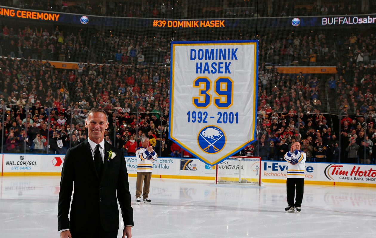 Dominik Hasek, who had his number retired in Buffalo in 2015, was named one of the NHL's top 100 earlier this year. (NHLI via Getty Images)