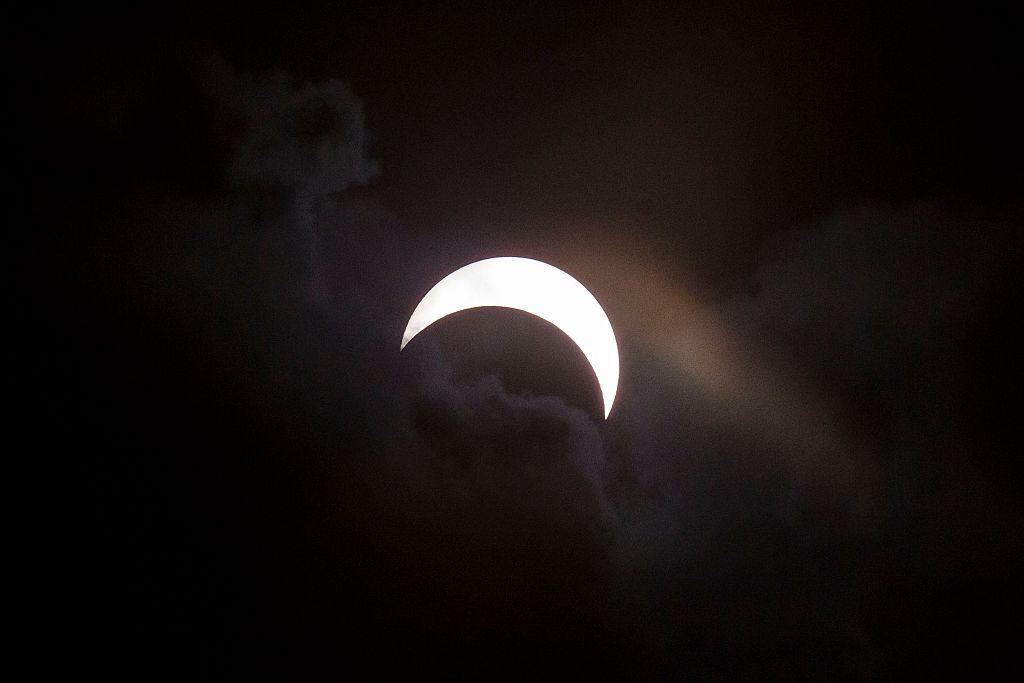 In the Buffalo Niagara region, about 72 percent of the sun will be eclipsed by the moon early Monday afternoon.  (Getty Images)