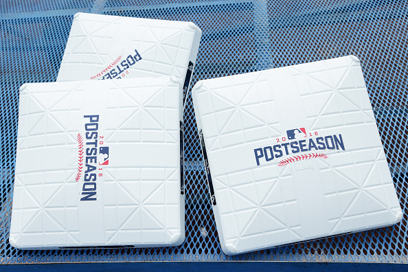 LOS ANGELES, CA - OCTOBER 11:  Postseason bases are seen prior to game four of the National League Division Series between the Los Angeles Dodgers and the Washington Nationals at Dodger Stadium on October 11, 2016 in Los Angeles, California.  (Photo by Jeff Gross/Getty Images)