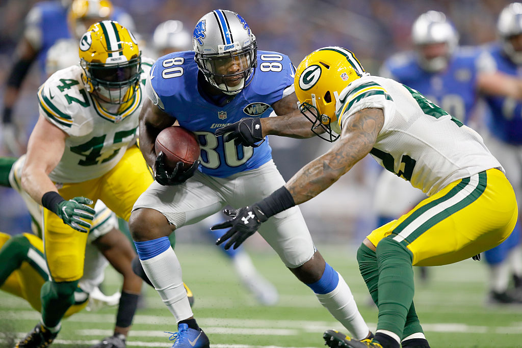 New Bills receiver Anquan Boldin in action with his previous team, the Lions. (Getty Images)