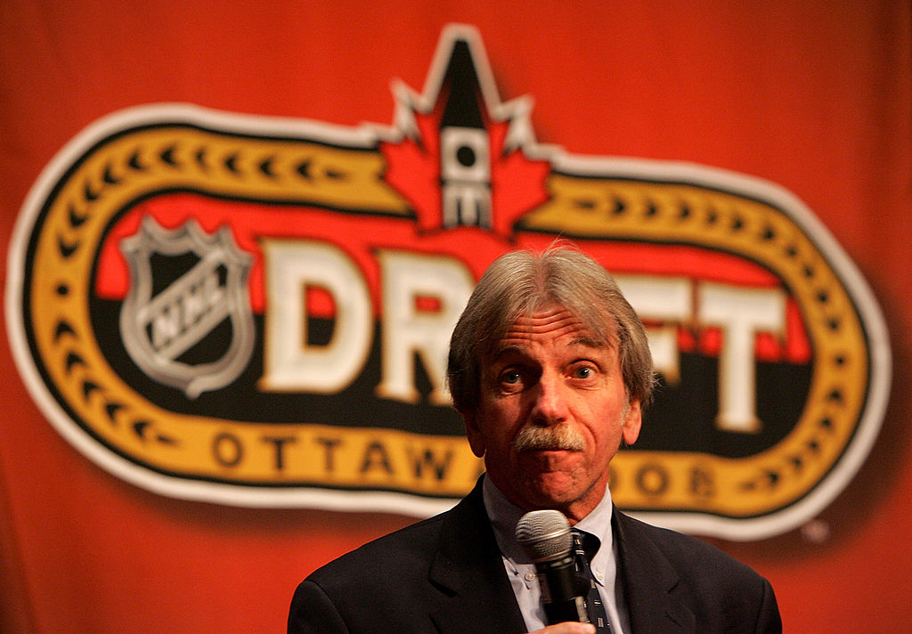 A 2008 photo of E.J. McGuire, director of NHL Central Scouting,   at the NHL Top Prospects Media Luncheon in Ottawa (Getty Images)
