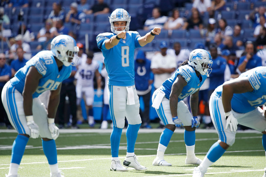 Brad Kaaya of the Detroit Lions directs the offense against the Indianapolis Colts in the second half of a preseason game. He could see all the action against the Bills. (Getty Images)