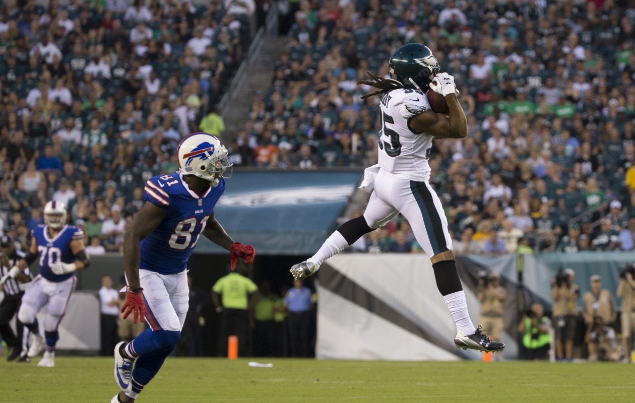 Cornerback Ronald Darby intercepts a pass intended for Anquan Bolding during Thursday's preseason game between the Buffalo Bills and Philadelphia Eagles. (Getty Images)