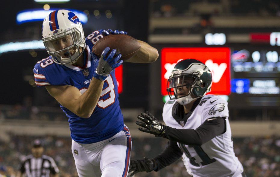 Despite his touchdown catch Thursday night against Philadelphia, Brandon Reilly finds himself on the outside looking in on the latest 53-man roster projection. (Getty Images)