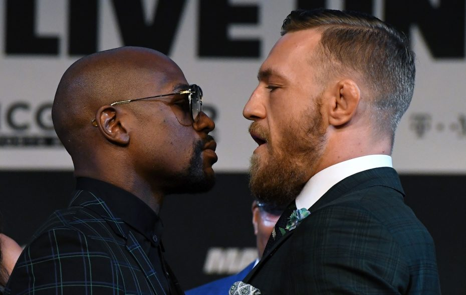 Floyd Mayweather Jr., left, will fight MMA star Conor McGregor in a boxing match on Aug. 26, 2017, in Las Vegas. (Photo by Ethan Miller/Getty Images)
