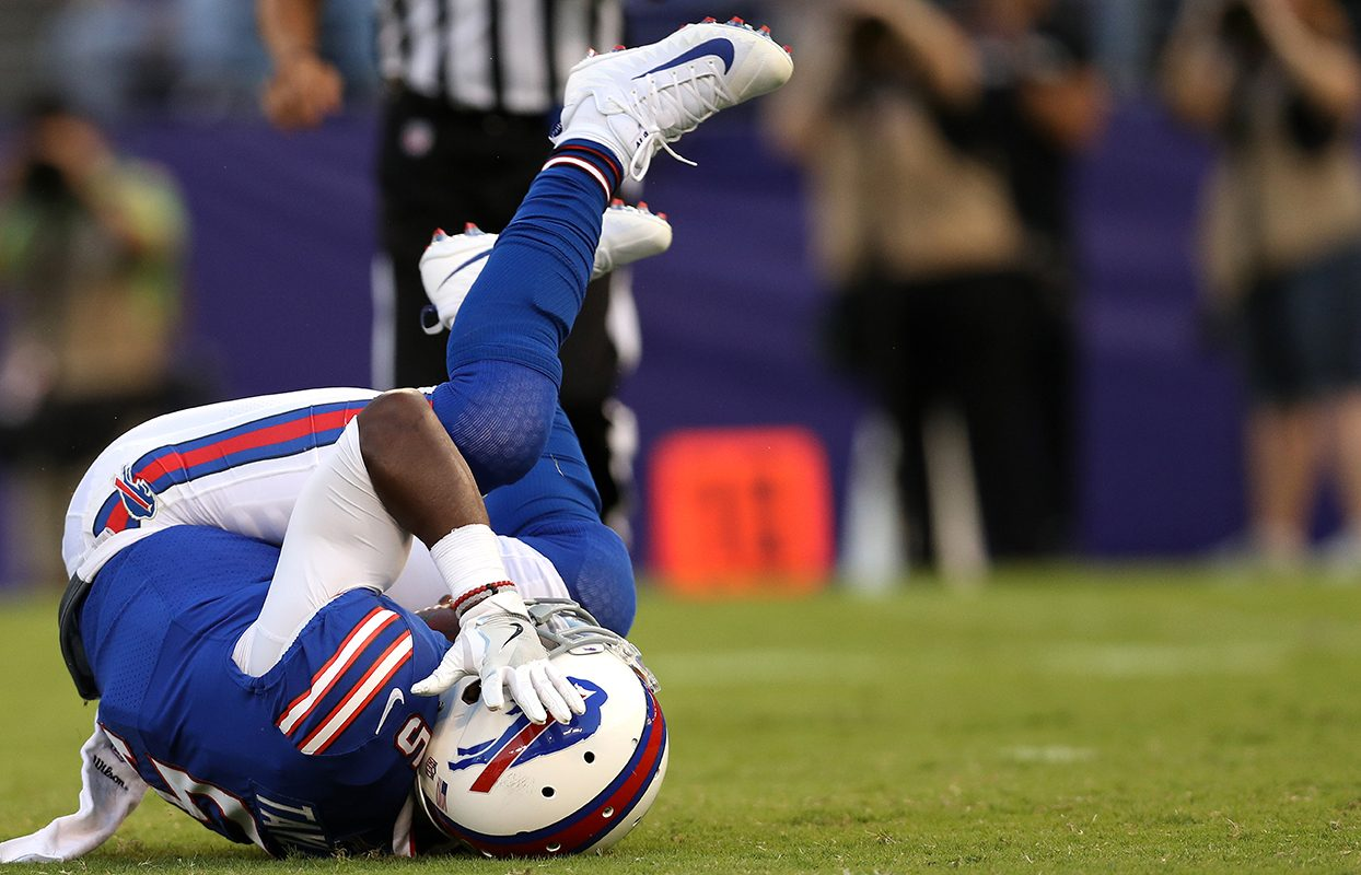 Bills quarterback Tyrod Taylor left Saturday's game with a possible concussion. (Patrick Smith/Getty Images)