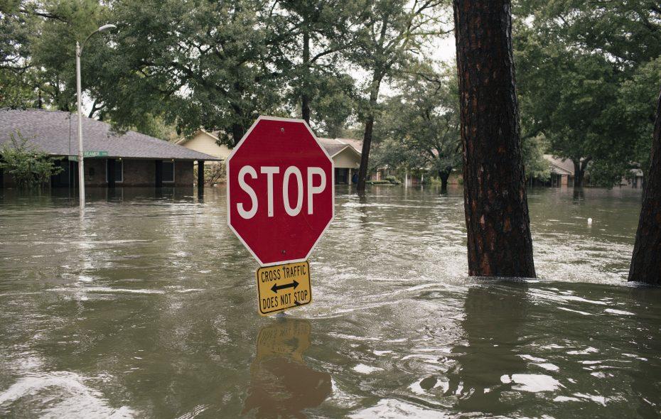 Flood waters cover the Meyerland neighborhood of Houston Sunday. (New York Times photo)