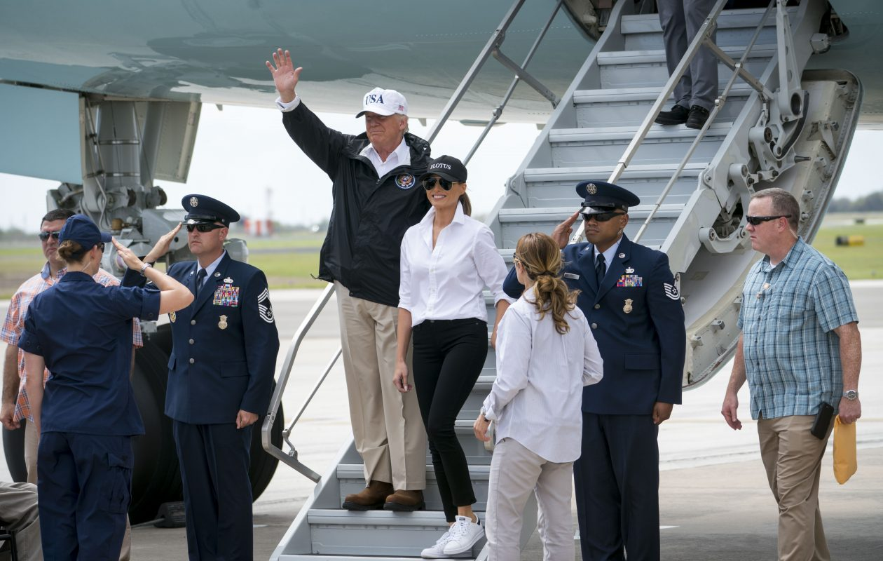 President Donald Trump and first lady Melania Trump exit Air Force One at Corpus Christi International Airport in Texas, Aug. 29, 2017. Trump will visit the city on the Texas gulf coast Tuesday before traveling to Austin, the state capital, as Tropical Storm Harvey regains strength and hurtles toward Louisiana. (Doug Mills/The New York Times)