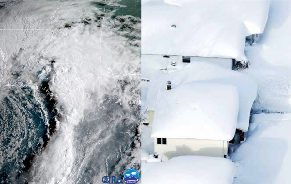 The juxtaposition of a GOES-16 satellite image of Tropical Storm Harvey overnight and the Buffalo News' Derek Gee's aerial image over a Depew during the double lake-effect snowstorm of November 2014. (NOAA, Derek Gee/Buffalo News)