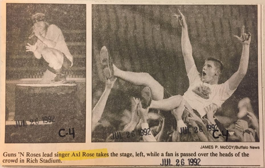 Buffalo News file photos of Axl Rose and Guns N' Roses performing at Rich Stadium in 1992.