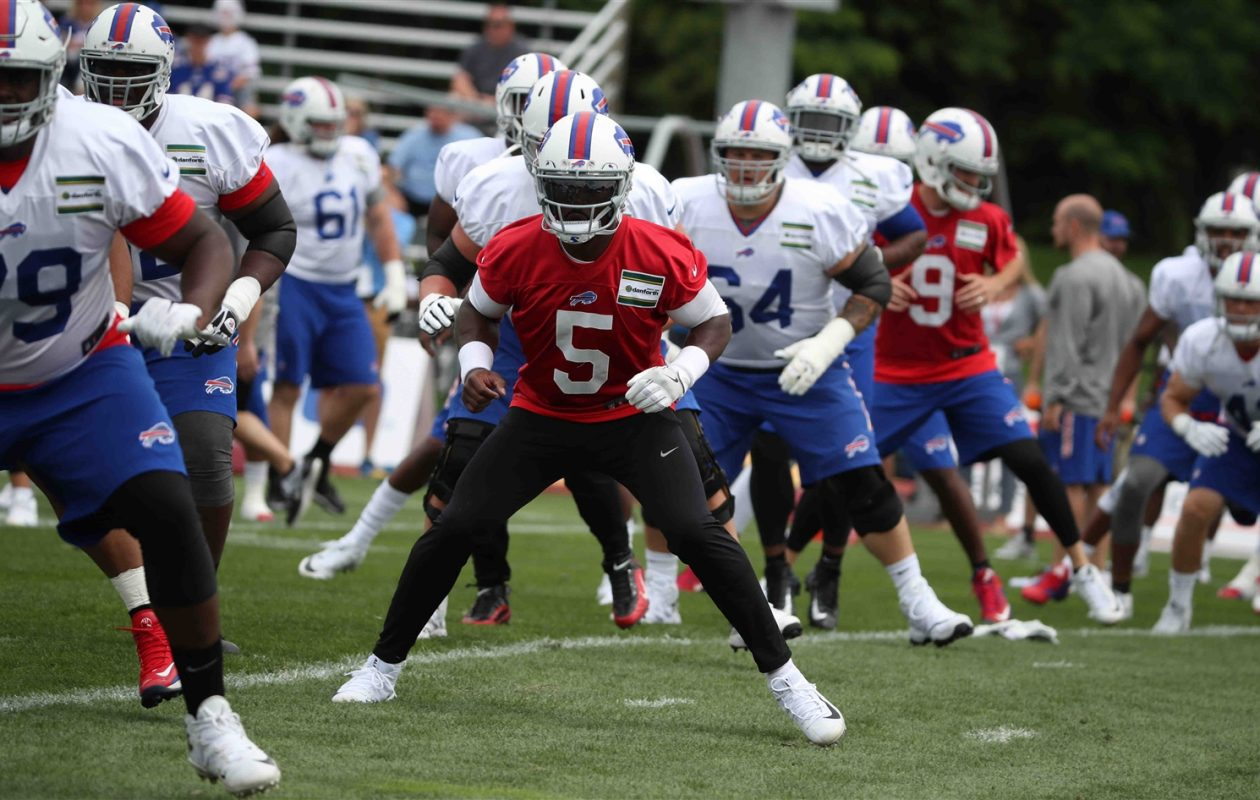 Quarterback Tyrod Taylor has experience in offensive coordinator Rick Dennison's system from their time together in Baltimore. (James P. McCoy/Buffalo News)