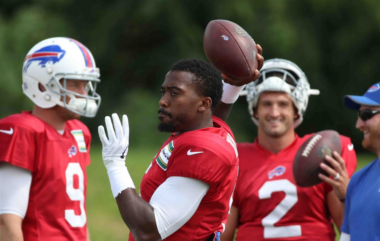 Buffalo's three quarterbacks have yet to raise many eyebrows in training camp. (James P. McCoy/The Buffalo News)