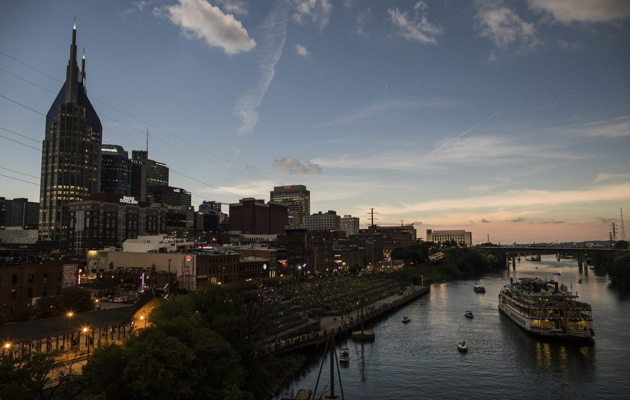Nashville darkens during the solar eclipse's totality, in Tennessee. (Joe Buglewicz/ New York Times)