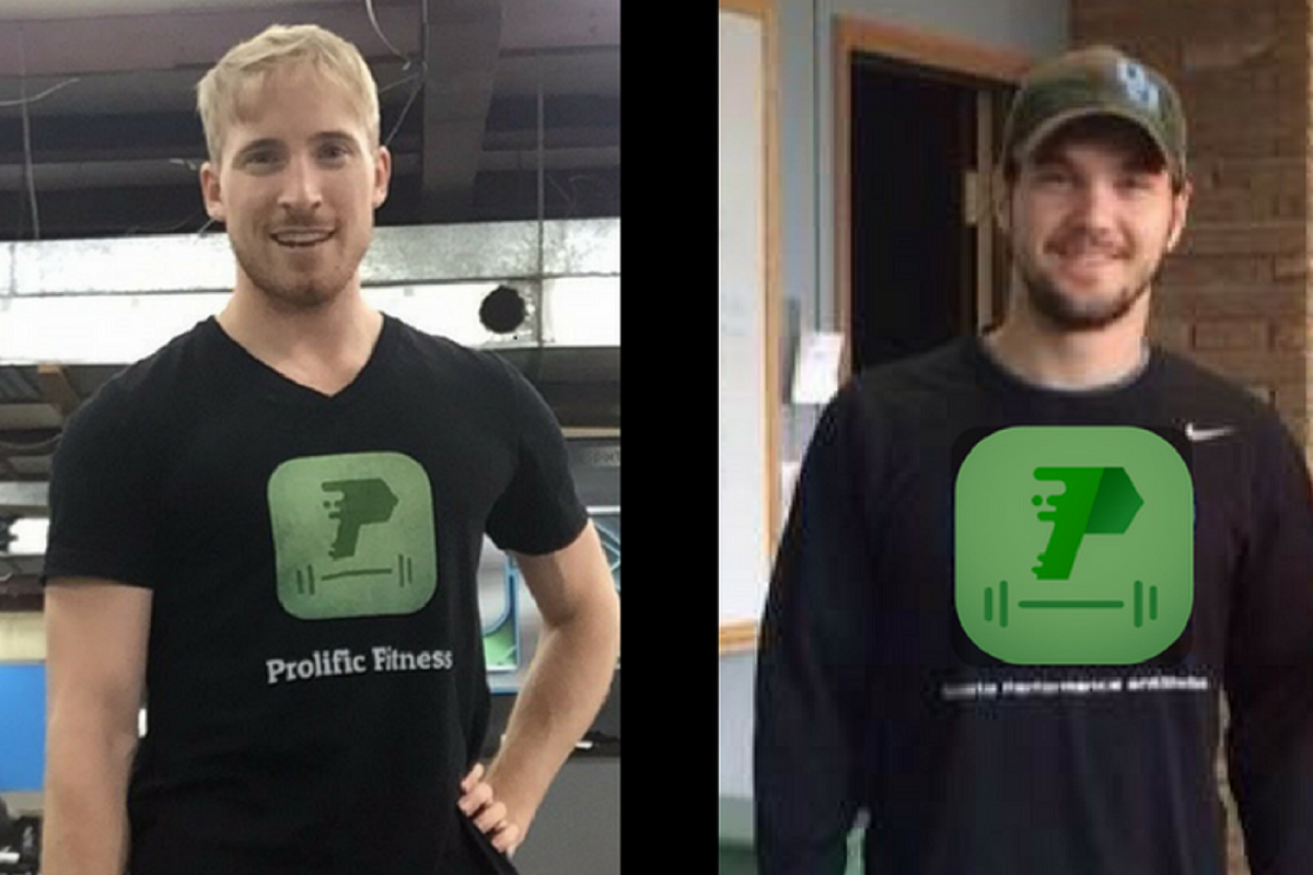 Prolific Fitness founders Ryan Malinowski, left, and Brandon Monin have launched a new fitness app for Android and iPhone smartphones.