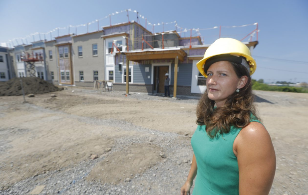 Mindy Cervoni, director of community services at  Ridgeway Commons,  264 Ridge Road, site of the former Friendship House, in Lackawanna, N.Y., while it was under construction. (John Hickey/Buffalo News)