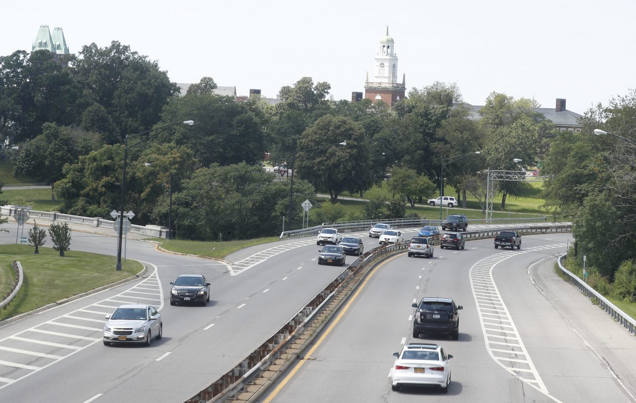 Vehicles travel on the Scajaquada Expressway looking west from the pedestrian bridge near Lincoln Parkway, in Buffalo, N.Y. on Tuesday Aug. 8, 2017.    (John Hickey/Buffalo News)