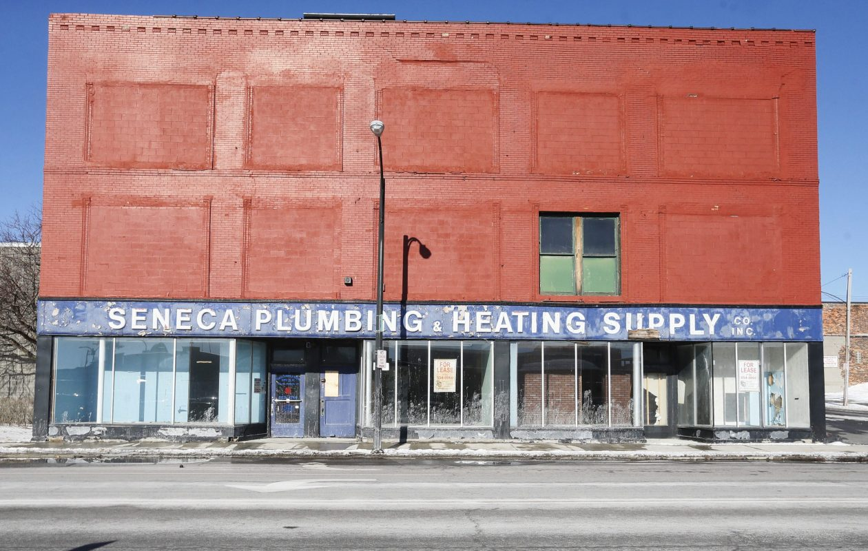 The former Seneca Plumbing building on Seneca Street,. (News file photo)