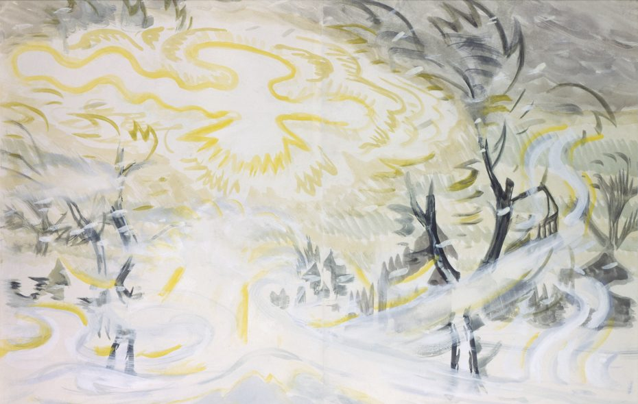 """""""Sun and Snowstorm,"""" a 1917 painting by Charles E. Burchfield, is on view in the Burchfield Penney Art Center."""
