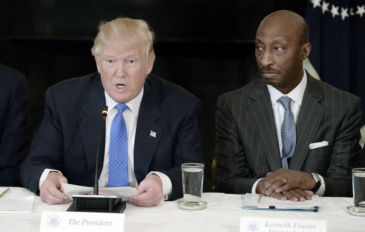 U.S. President Donald Trump and Kenneth Frazier, chairman and CEO of Merck, during a February 2017 meeting with manufacturing CEOs at the White House in Washington, D.C. (Olivier Douliery/Abaca Press/TNS)