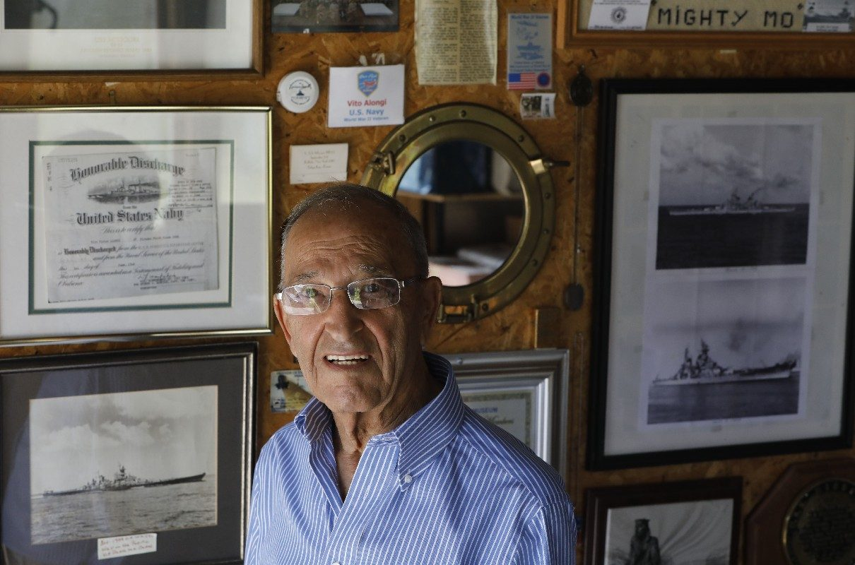 Vito V. Alongi has lots of World War II mementos to remind him that the Japanese surrendered aboard his ship, the USS Missouri.(Derek Gee/Buffalo News)