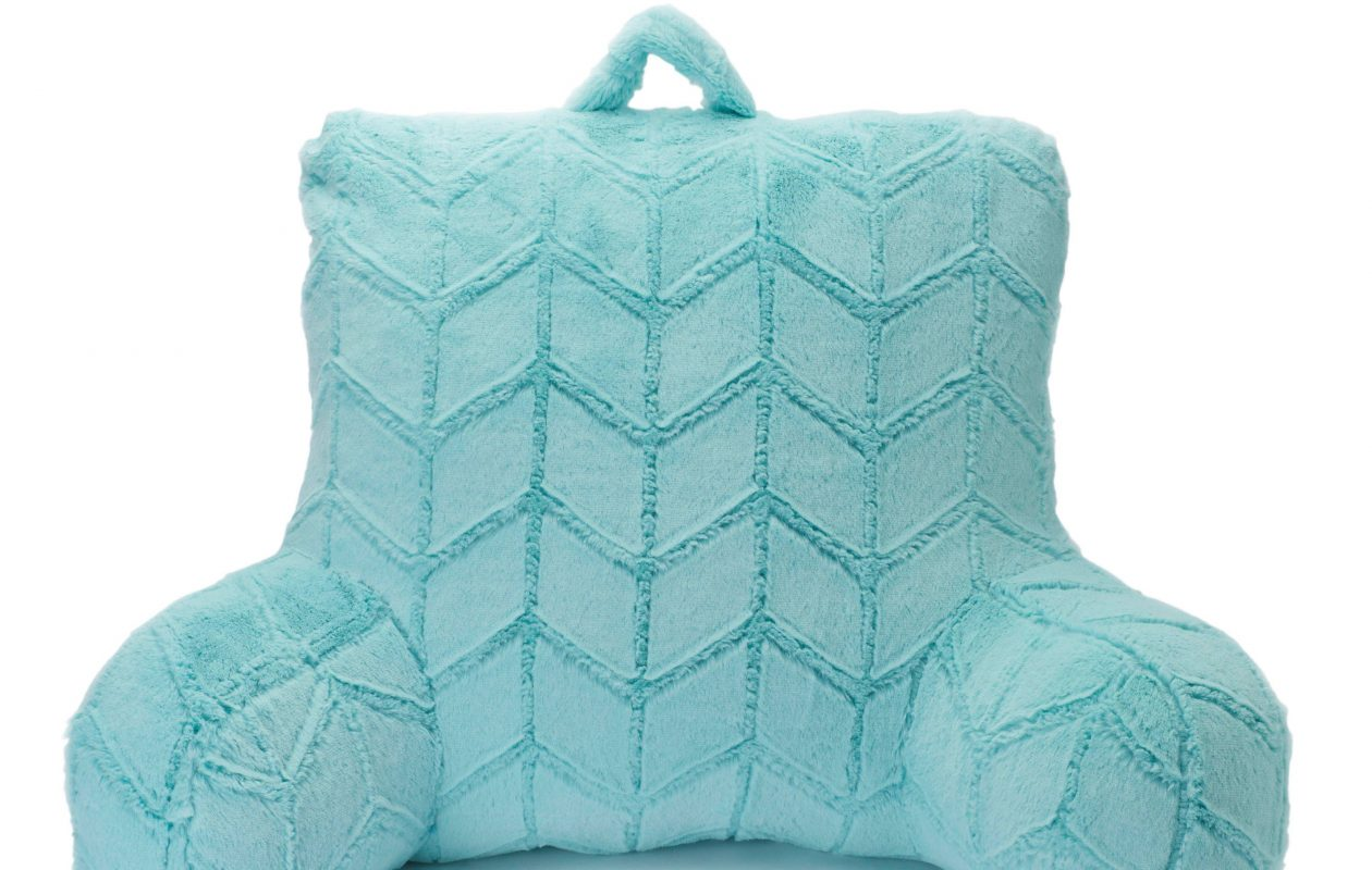 A backrest pillow is a popular item for dorm rooms. This faux-fur blue one is available at select Kohl's, kohls.com.
