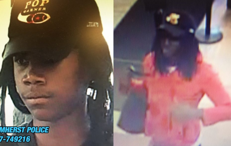 At left, the suspect in a bank robbery Thursday on Millersport Highway in Amherst. At right, the suspect in a bank robbery Thursday on George Urban Boulevard in Depew. (Amherst Police & Depew Police)