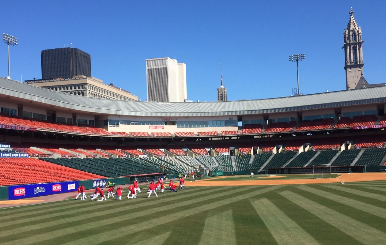 Partly sunny skies, but unseasonably chilly conditions are forecast for the Buffalo Bisons' home opener on Thursday afternoon at Sahlen Field. (News file photo)