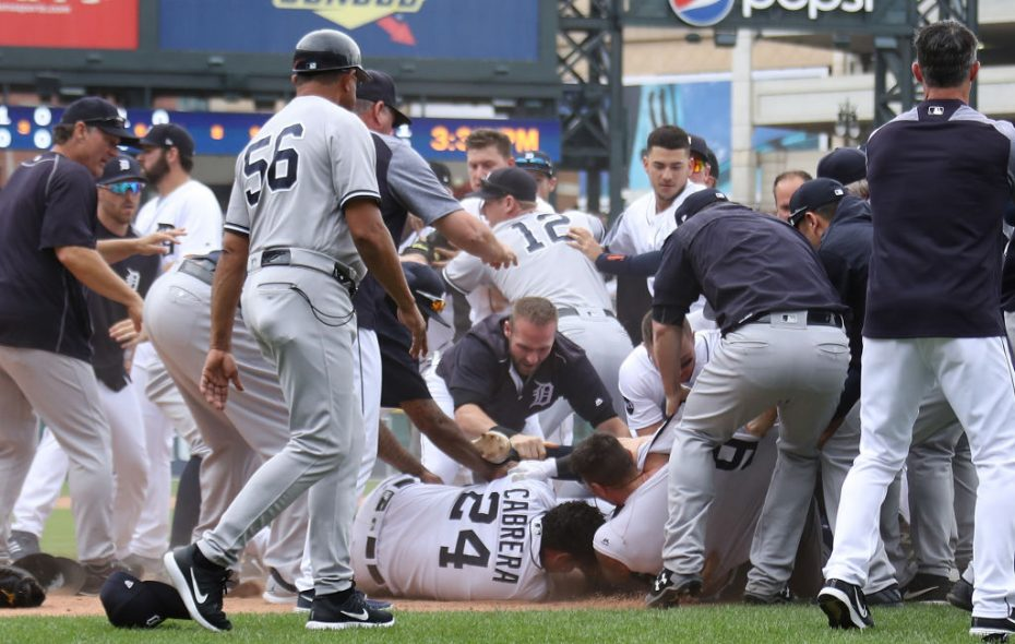 Miguel Cabrera of the Tigers (24) is on the bottom of the pile during Thursday's brawl with the Yankees in Detroit. (Getty Images).