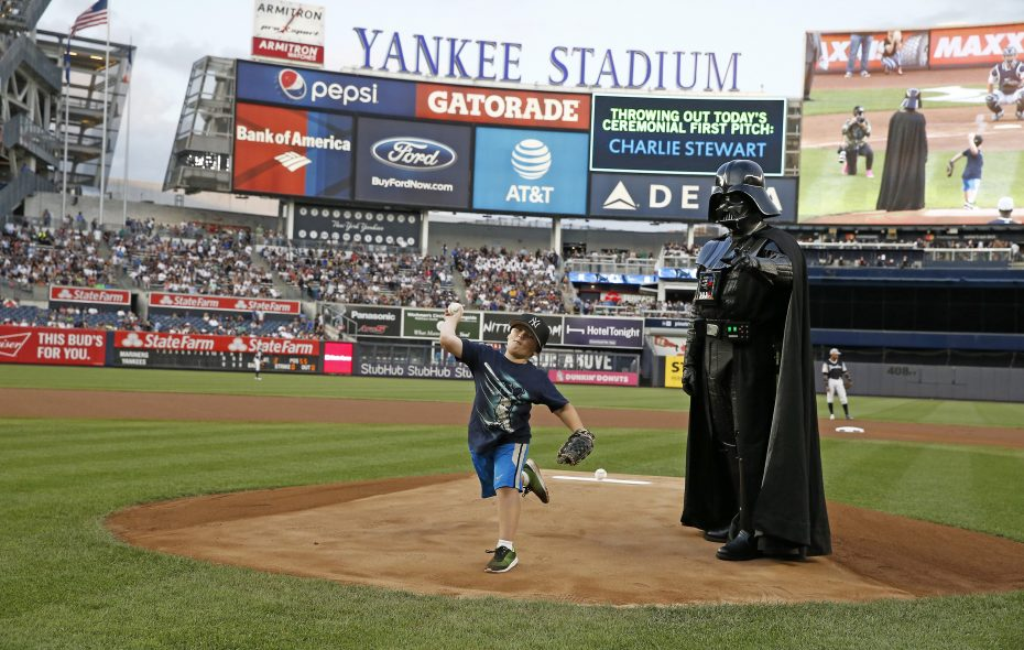 Charlie Stewart, of Buffalo, throws out the first pitch at Yankee Stadium on Friday, Aug. 25, 2017. (Photo courtesy of the New York Yankees)