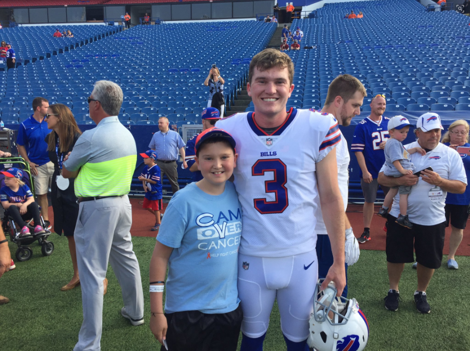 Cameron and Austin Rehkow at New Era Field Thursday night. (Courtesy of Freddie Rehkow)