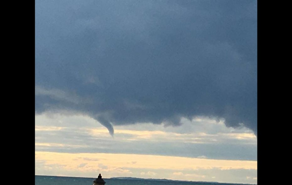 A funnel cloud forms over Lake Erie Saturday. (Steve Cichon/Special to the News)