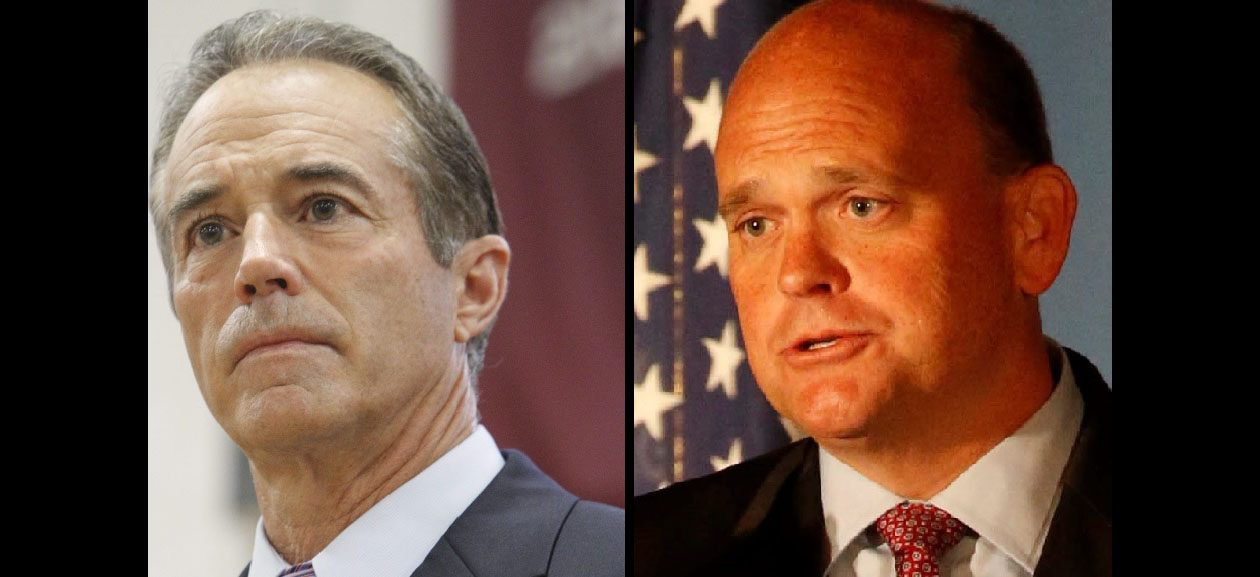 Republican Chris Collins, left, and Tom Reed have not joined some other Republicans who have criticized President Trump's remarks about the Aug. 12 violence in Charlottesville. (News file photos)