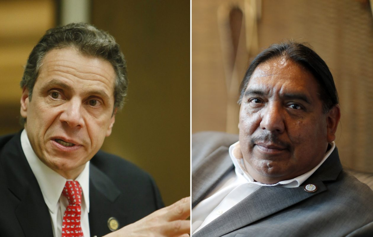 Gov. Andrew Cuomo and Seneca Nation President Todd Gates have been sparring over the Nations' compact with the state. (Derek Gee and Mark Mulville/Buffalo News)