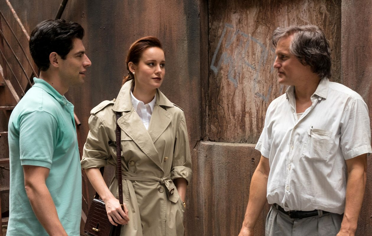 Max Greenfield, left, Brie Larson and Woody Harrelson star in 'The Glass Castle.' (Giles Netter, Lionsgate)