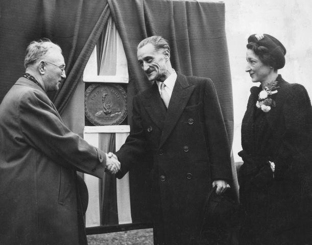Dunkirk-to-Dunkerque Day, Thanksgiving, 1946: Dunkirk Mayor Walter Murray greets Henri Bonnet, French ambassador to the United States, and Bonnet's wife,  Hellé Zervoudaki. (Photo courtesy of Dunkirk Historical Museum)