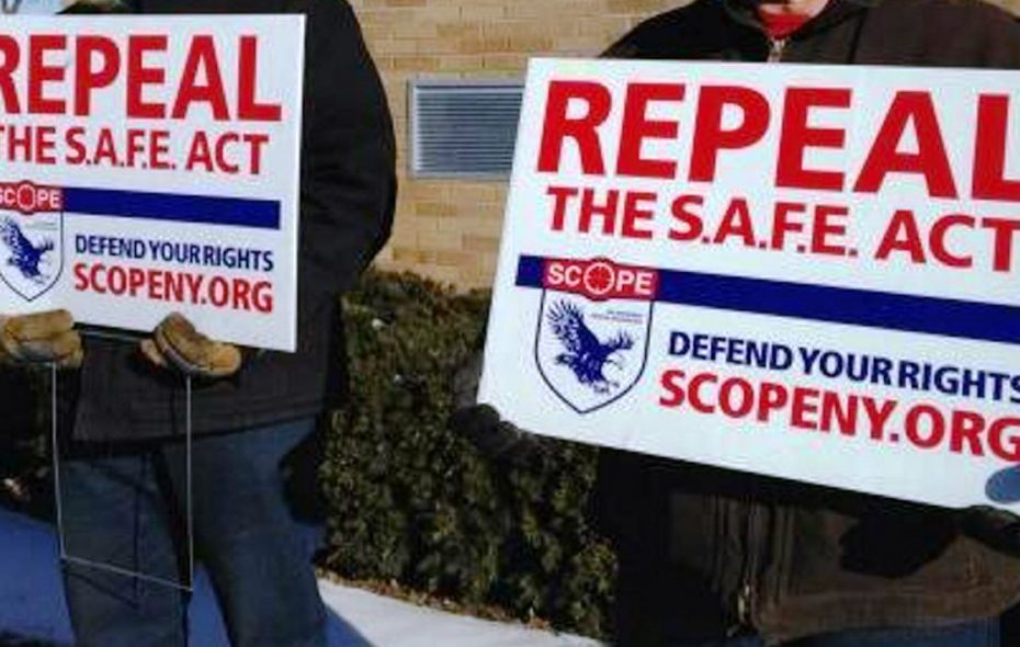 Opponents of the New York SAFE Act hold repeal signs. (News file photo)