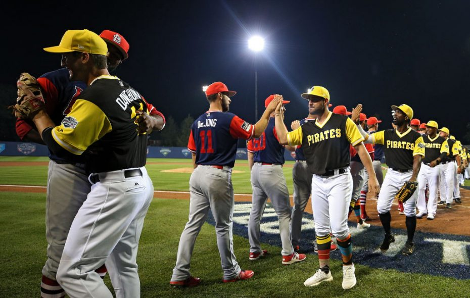 Just like Little Leaguers, the Pirates and Cardinals had a post-game handshake Sunday night in Williamsport, Pa. (Getty Images).