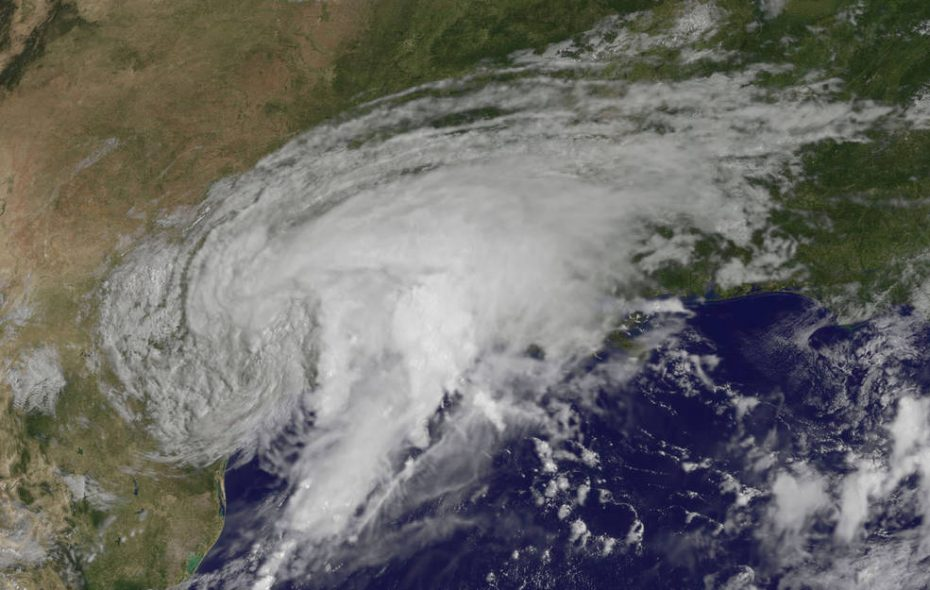 NOAA's GOES-East satellite captured this visible image of Tropical Storm Harvey over Texas about 10:30 a.m. Sunday. (NASA/NOAA GOES Project)