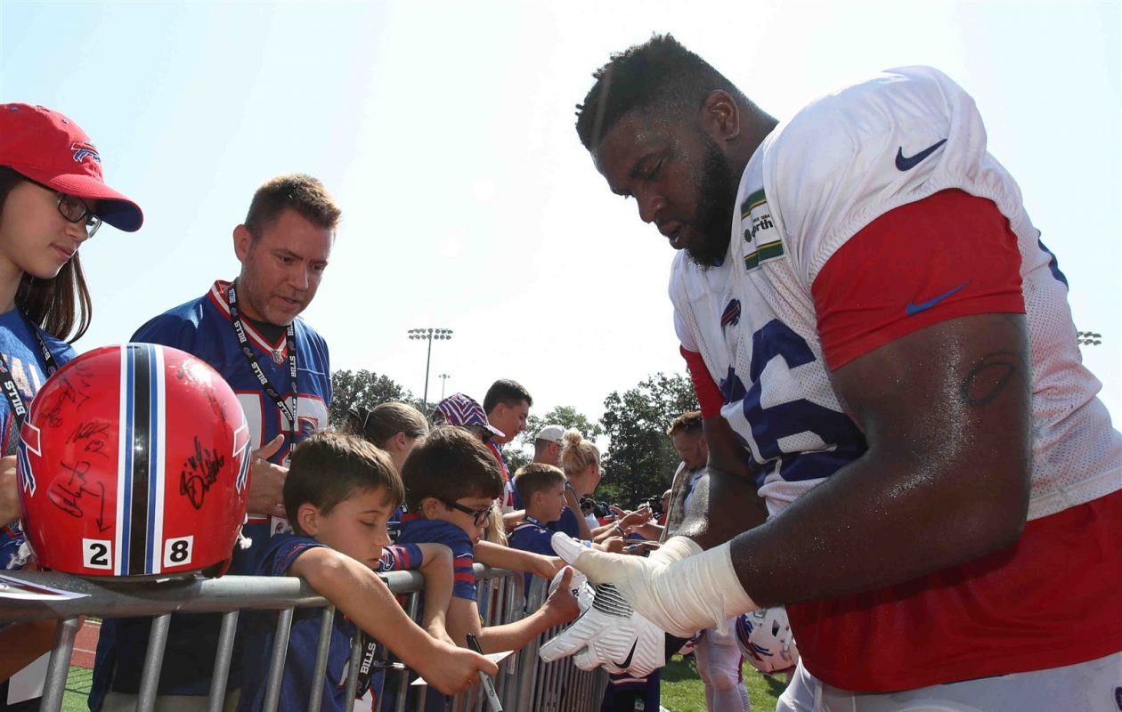 Offensive tackle Seantrel Henderson is mixing in with the starters during the early portion of training camp. (James P. McCoy/Buffalo News)
