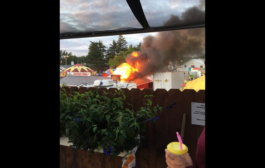 A photo of the fire at the fair, reportedly at Weidner's chicken stand. (Bill Edwards/Special to The News)