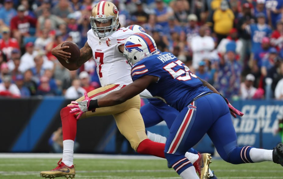 Colin Kaepernick's football skills are one of the topics during this Daily Drive podcast.  (James P. McCoy/Buffalo News)