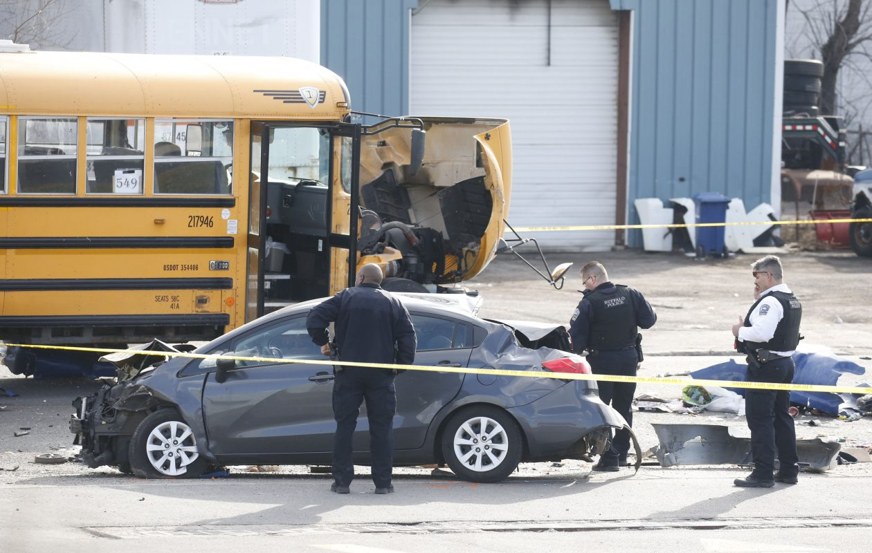 The remains of a high speed police chase crash scene on Seneca Street at the Orlando St. intersection in Buffalo on Wednesday, March 29, 2017.  (Robert Kirkham/Buffalo News)
