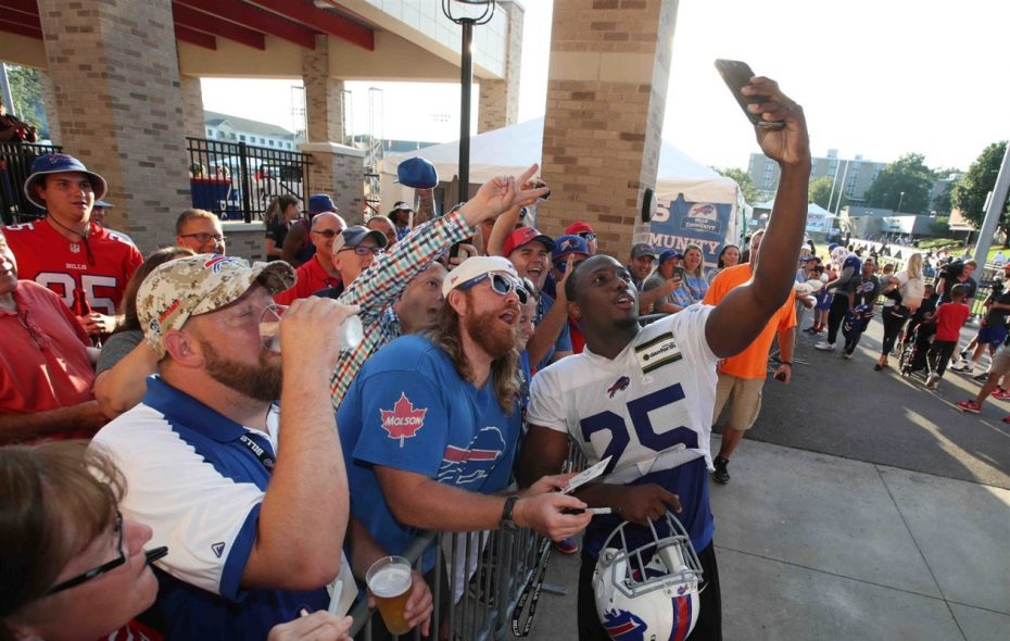 LeSean McCoy takes a selfie with fans at the Bills' training camp at St. John Fisher College. (James P. McCoy/Buffalo News)