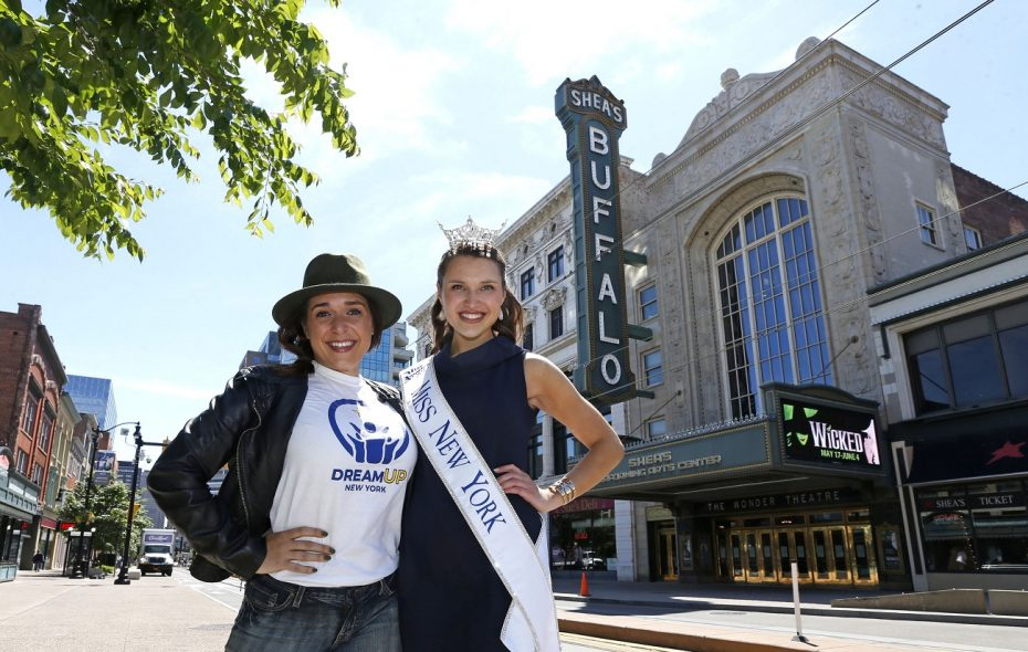 """The Miss New York pageant will be held at Shea's next year. Gabrielle Walter, right, a Clarence native, was crowned Miss New York earlier this year. Here she is pictured with Jessica Vosk who was playing Elphaba in a production of """"Wicked.""""  (Robert Kirkham/Buffalo News file photo)"""