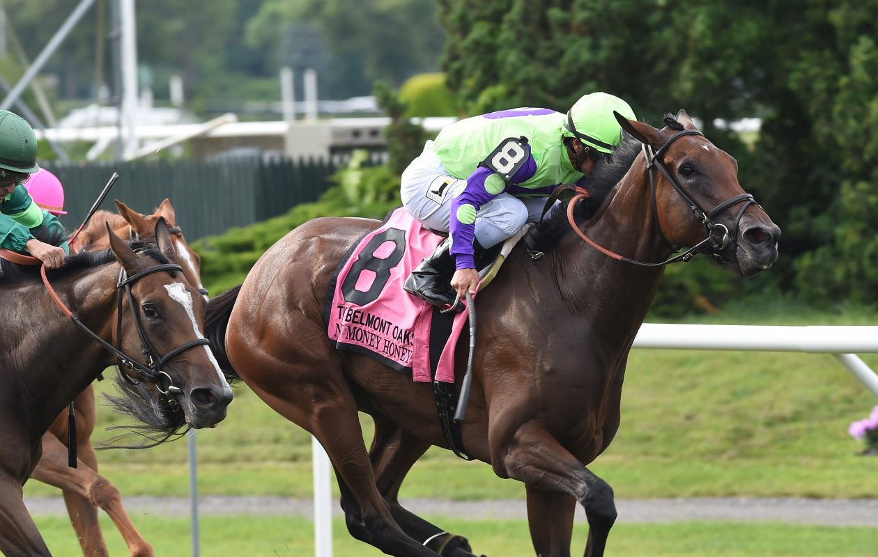 New Money Honey will try the dirt in Saturday's Grade 1 Alabama Stakes. Photo Credit: NYRA
