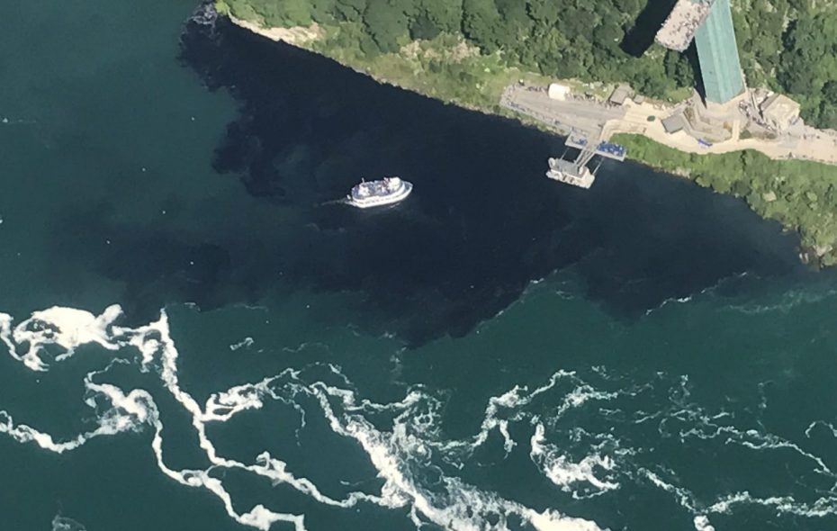 The July 29, 2017 discharge from the Niagara Falls Water Board's wastewater treatment plant. (Courtesy Rainbow Air Inc.)
