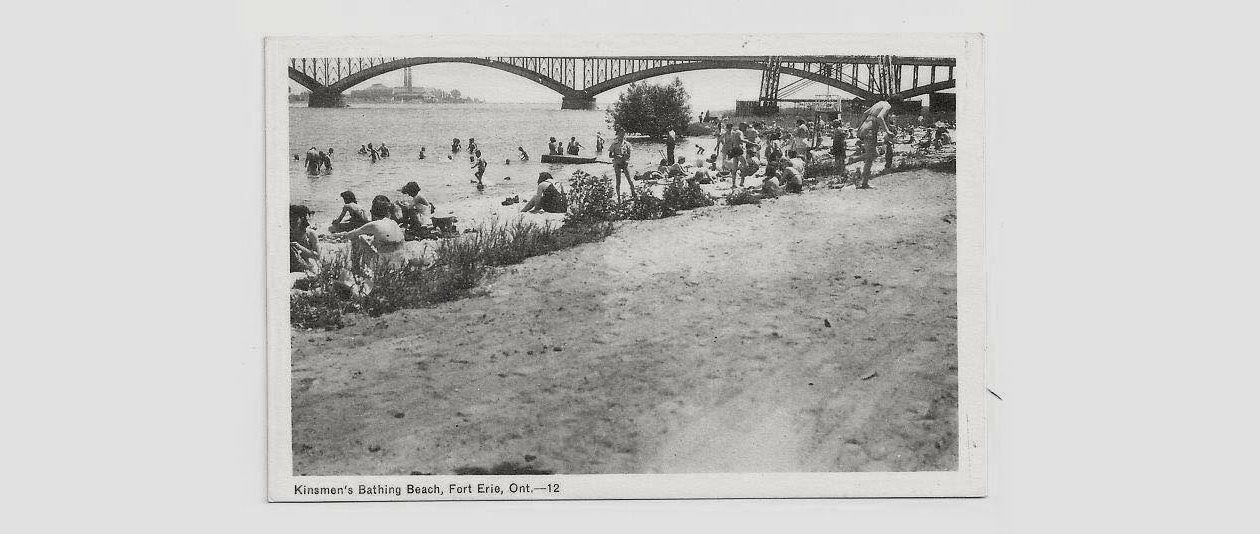 The Fort Erie beach known as the 'Baby Hole,' identified on this postcard as 'Kinsmen's Beach.' (Image courtesy Paul Panepinto)